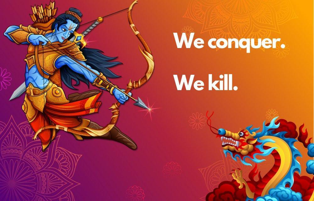 Das Kriegsplakat des Twitter-Benutzers in Hongkong, auf dem Rama den chinesischen Drachen tötet, gewinnt gegen Indianer