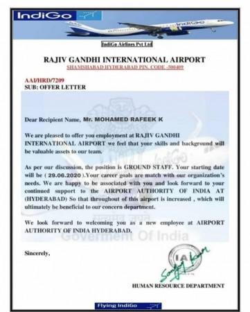 Shagzil Khan veröffentlicht einen E-Mail-Angebotsbrief von Indigo Airlines