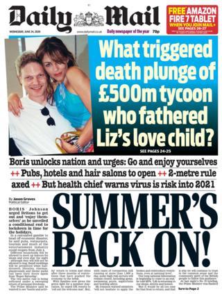 Die Daily Mail-Titelseite 24.06.20