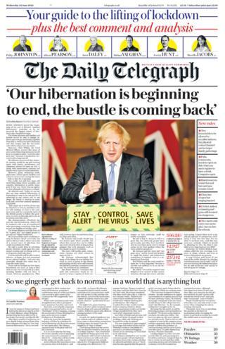 Die Titelseite des Daily Telegraph 24.06.20