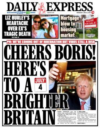 Die Daily Express-Titelseite 24.06.20
