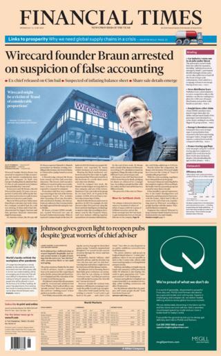 Titelseite der Financial Times 24.06.20