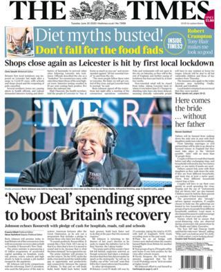 Die Titelseite der Times 30.06.20