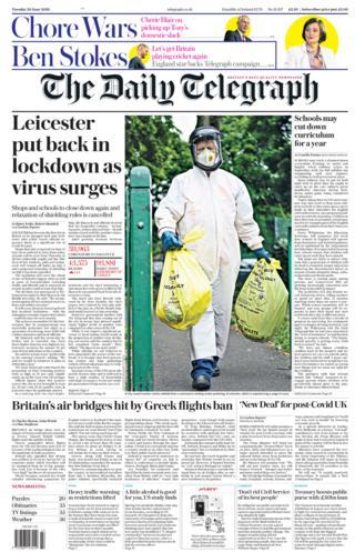 Telegraph Titelseite 30.06.20