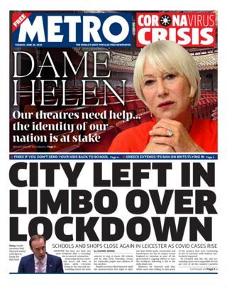 Metro Titelseite 30.06.20