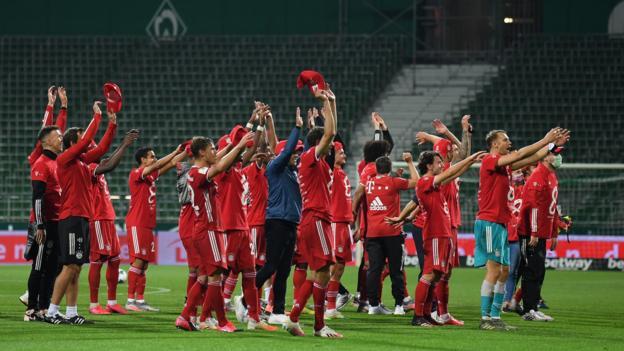 Bayern München gewinnt nach dem Sieg gegen Werder Bremen den achten Titel in Folge in der Bundesliga