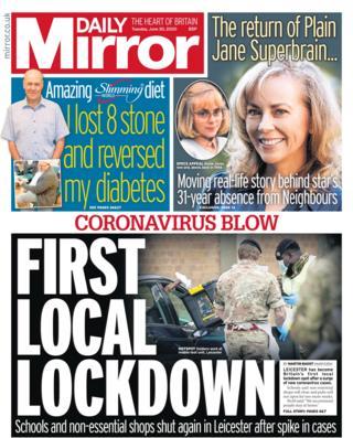 Daily Mirror Titelseite 30.06.20