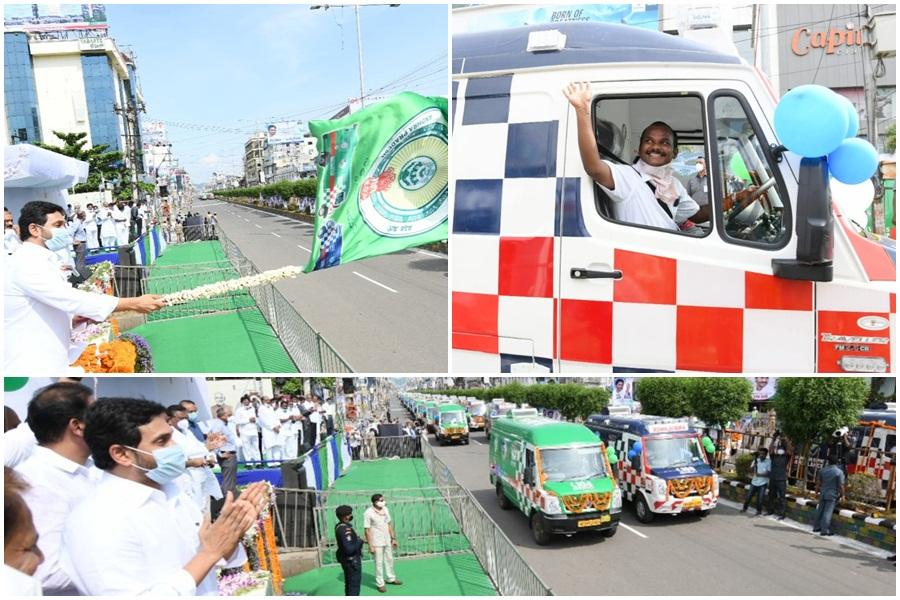 YS Jagan Mohan Reddy launches 1088 ambulences
