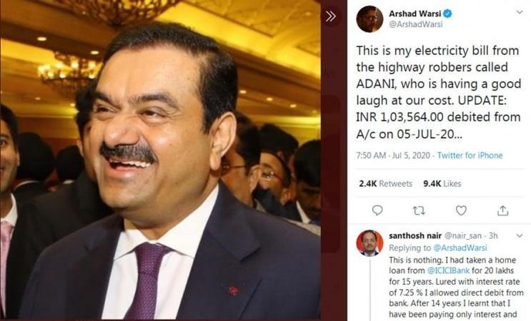 Arshad Warsis Tweet über Adani