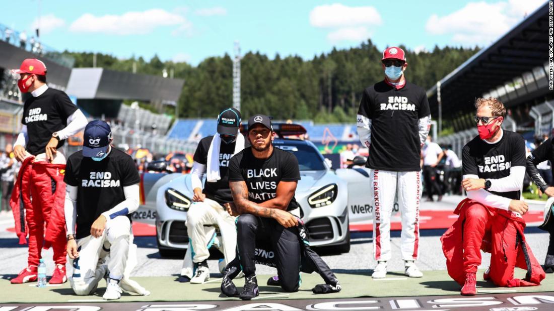 Mehrere geteilte F1-Fahrer knien vor dem Großen Preis von Österreich nicht zur Unterstützung der Black Lives Matter-Bewegung nieder