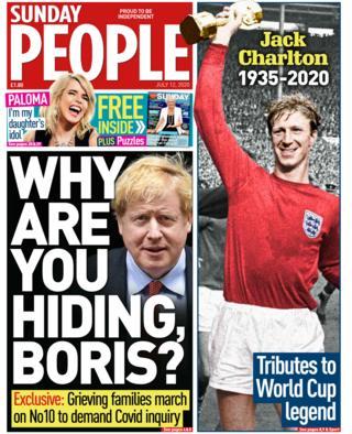 Sunday People Titelseite 12/07/20