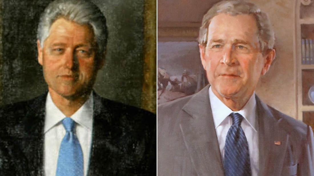 Die Porträts von Bill Clinton und George W. Bush im Weißen Haus zogen von prominenten Räumen in selten genutzte Räume