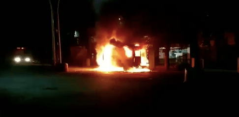 Ambulance set on fire in Belagavi
