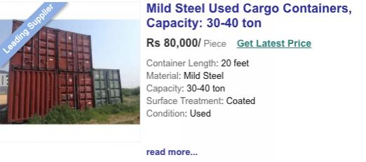 Indiamart Container Preis