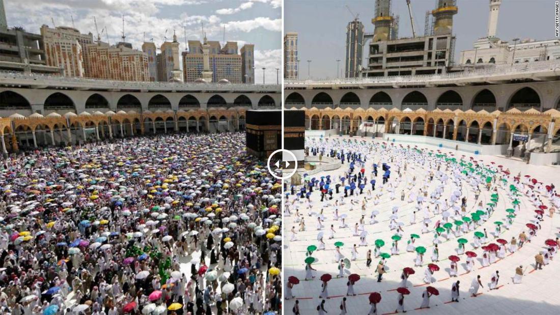 Markante Fotos zeigen den sozial distanzierten Hajj