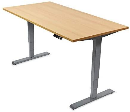 Ergotopia Elektrisch höhenverstellbarer Schreibtisch 5 Jahre Garantie | Ergonomischer Steh-Sitz Tisch mit Memory Funktion | Beugt Rückenschmerzen vor & Macht produktiver (160 x 80 cm, Buche)