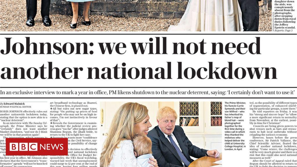 """Die Schlagzeilen der Zeitung lauten """"No National Lockdown"""" und """"Missing"""" Prince Andrew"""