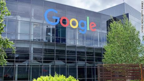 Google-Hauptsitz in Mountain View, Kalifornien. Das Android-Betriebssystem des Unternehmens macht 91% der in Indien verwendeten mobilen Betriebssysteme aus.