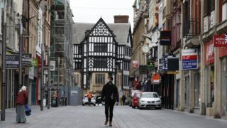 Straße im Stadtzentrum von Leicester