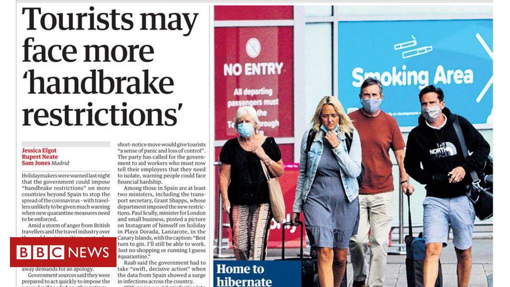 """Schlagzeilen in der Zeitung: """"Pain in Spain"""" und """"£ 5 verlieren, um NHS £ 100m zu sparen"""""""