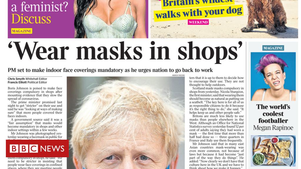 """Schlagzeilen in der Zeitung: """"Tragen Sie Masken in Geschäften"""" und """"Gehen Sie zurück ins Büro""""."""