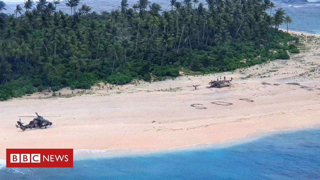 Beach SOS rettet Männer, die auf einer winzigen mikronesischen Insel gestrandet sind