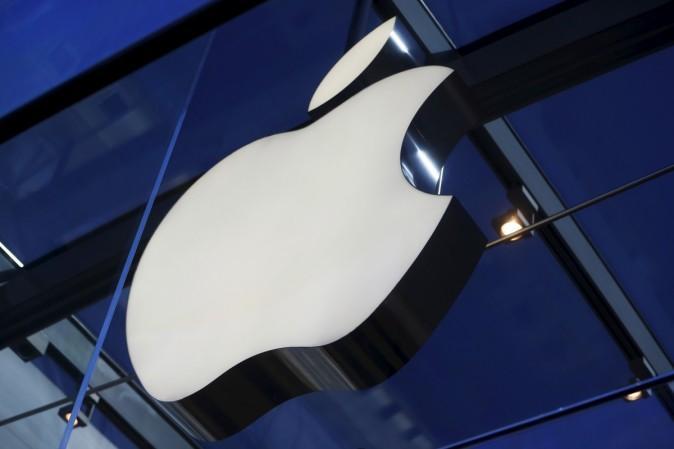Das Apple-Logo befindet sich im Apple Store in Palo Alto