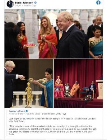 Screenshot von Boris Johnsons FB-Seite