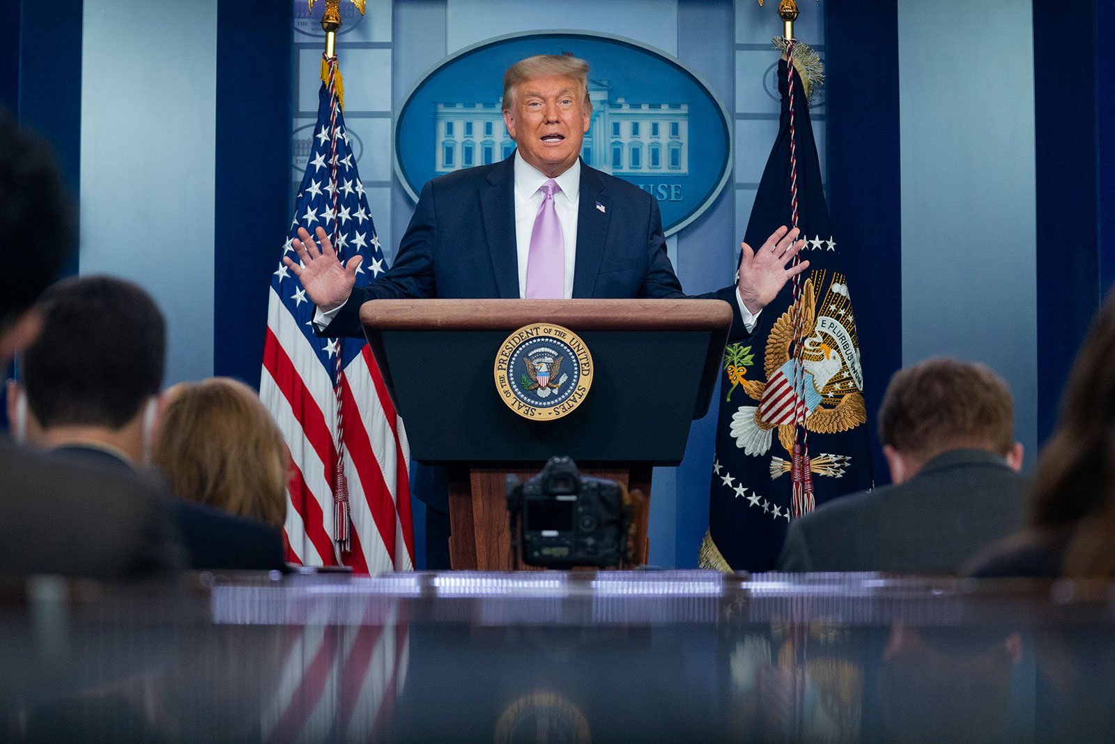 President Trump speaks at a news conference at the White House on Tuesday.