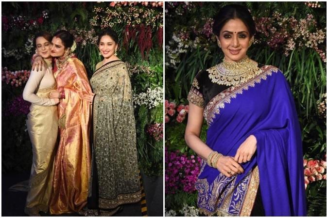 Kangana, Rekha und Madhuri / Sridevi Kapoor beim Hochzeitsempfang von Virat-Anushka