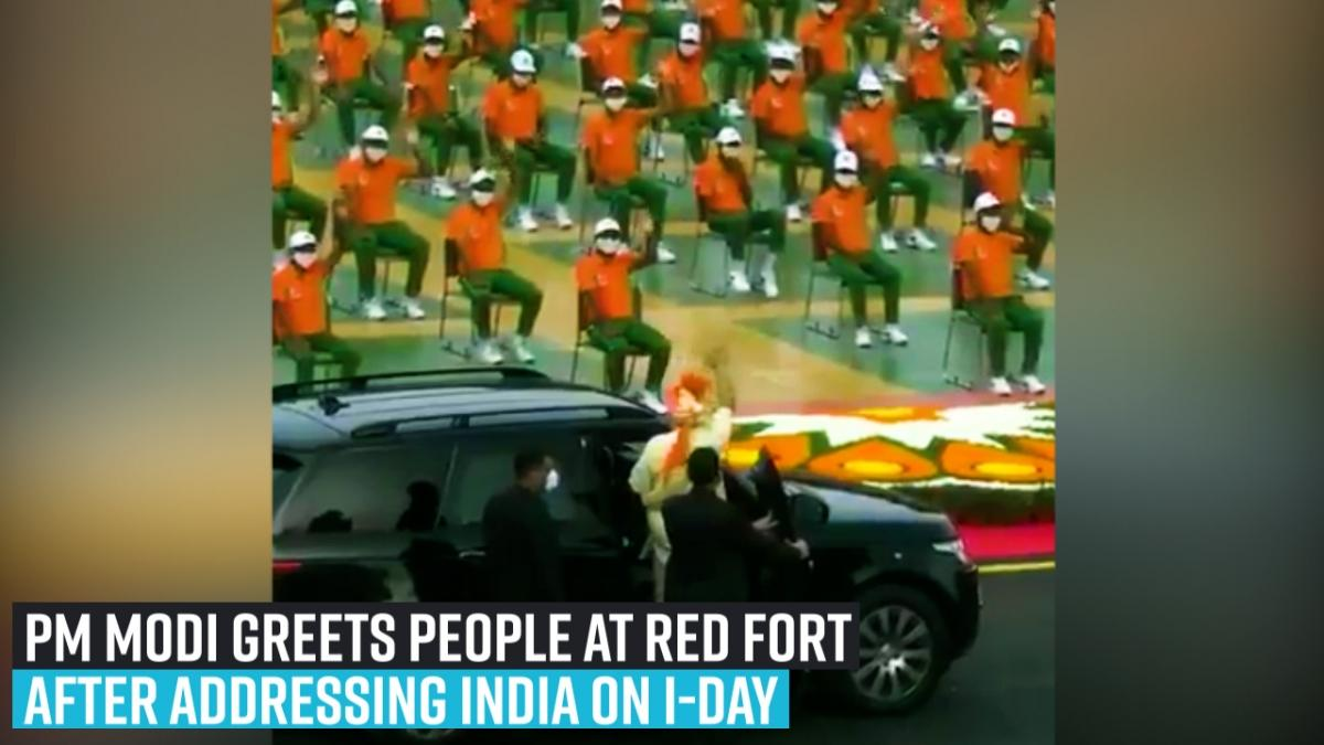 PM Modi greets people at Red Fort after addressing India on I-Day