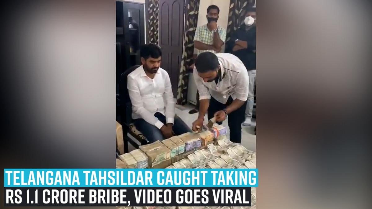 Telangana Tahsildar caught taking Rs 1.1 crore bribe, video goes viral