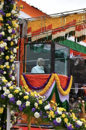 Karnataka CM bei den Feierlichkeiten zum Unabhängigkeitstag