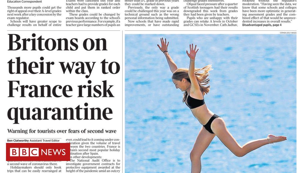 Schlagzeilen in der Zeitung: Frankreichs Quarantänerisiko und Flack Mutters Wut.