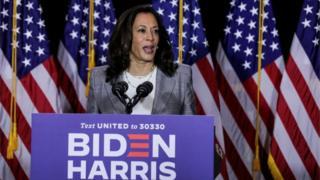 Kamala Harris spricht am 13. August 2020 in Wilmington, Delaware, über eine Wahlkampfveranstaltung