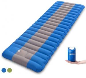 Overmont Camping Isomatte Luftmatratze Aufblasbar 12cm Dick Selbstaufblasbare Isomatte mit eingebauter Luftpumpe und Tragetasche