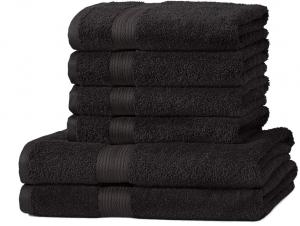 AmazonBasics Handtuch-Set, ausbleichsicher, 2 Badetücher und 4 Handtücher, Schwarz, 100% Baumwolle 500g/m²