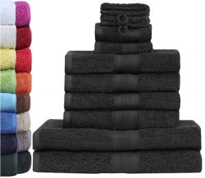 GREEN MARK Textilien 10 TLG. FROTTIER Handtuch-Set mit verschiedenen Größen 4X Handtücher, 2X Duschtücher, 2X Gästetücher, 2X Waschhandschuhe   Farbe: Schwarz   Premium Qualität