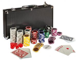 Ultimate Black Edition Pokerset, 300 hochwertige 12 Gramm METALLKERN Laserchips, 100% PLASTIKKARTEN, 2x Pokerdecks