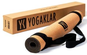 Premium Yogamatte aus Naturkautschuk und Kork, inklusive Tragegurt – rutschfest, hautfreundlich, pflegeleicht, 100% natürlich