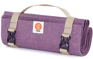 YOGO Ultraleichte Reise Yoga-Matte - mit angebrachtem Tragegurt - Faltbare, leichte, dünne Yoga-Matte