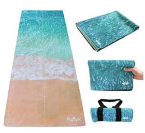 Plyopic Reise Yogamatte 3-in-1 Matte/Handtuch, Faltbar, rutschfest, Beidseitig nutzbar. Für jeden Yoga Stil, Pilates und Fitness